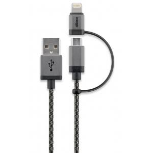 USB 2.0 kaabel A - micro B 1.0m + Apple lightning üleminek, must/hõbe tekstiil