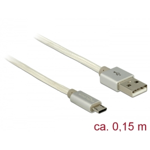 USB 2.0 kaabel A - Micro B 0.15m, valge, tekstiilist kattega