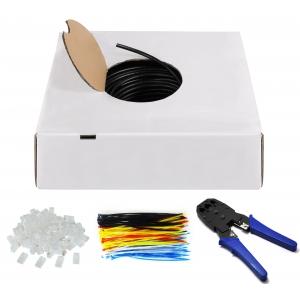 Komplekt keerdpaarkaabel Cat6 U/UTP 4x2x0,5 ühekiuline AWG 24/1 CCA 100m + 100tk pistikud, kaablisidemed + tangid