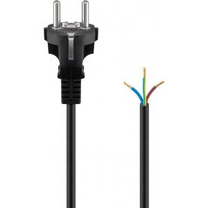 220V Toitekaabel 2.0m, 16A, must,  CEE 7/7 - lahtise otsaga