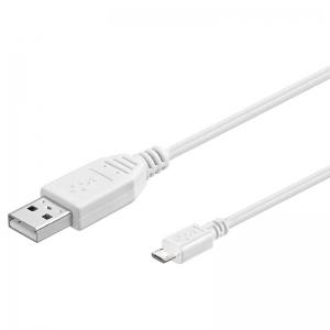 USB 2.0 kaabel A - Micro B 1.8m, valge