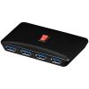USB 3.0 hub: 4 porti, on-off lüliti, must + toiteplokk 5V 4A + 0.4m kaabel