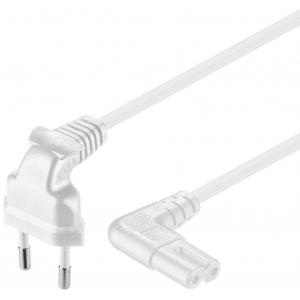 220V Toitekaabel 1.0m, valge, CEEE 7/16 - C7, mõlemad otsad nurgaga