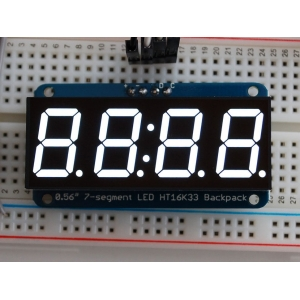7-segment LED displei I2C draiveriga, 4 kohta, 14mm, valge