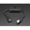 USB kaabel, USB-A ema/isa, toitelülitiga, 22cm