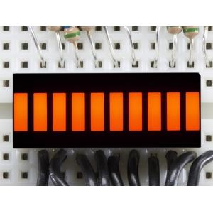 LED tulp indikaator, 10 segmenti, merevaigu kollane