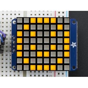 LED maatriks 8x8, kandiline, 30mm, I2C draiveriga, kollane