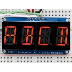 14-segment LED displei I2C draiveriga, 4 kohta, 13.7mm, punane