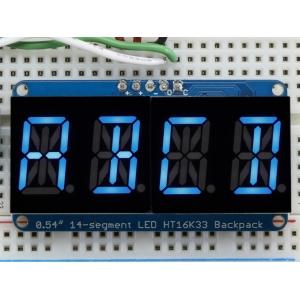 14-segment LED displei I2C draiveriga, 4 kohta, 13.7mm, sinine