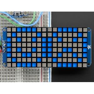 LED maatriks 16x8, kandiline, 30mm, I2C draiveriga, sinine