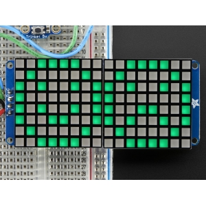 LED maatriks 16x8, kandiline, 30mm, I2C draiveriga, roheline