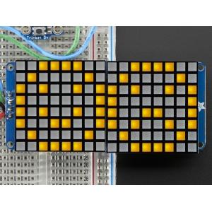 LED maatriks 16x8, kandiline, 30mm, I2C draiveriga, kollane
