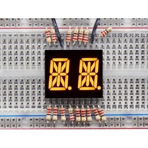 14-segment LED displei, 2 kohta, 13.7mm, kollane, 2 tk