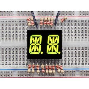 14-segment LED displei, 2 kohta, 13.7mm, kollakas-roheline, 2 tk