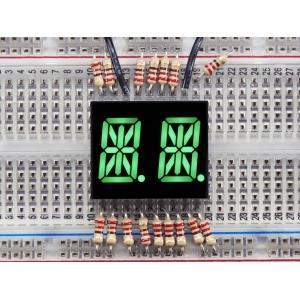 14-segment LED displei, 2 kohta, 13.7mm, roheline, 2 tk