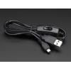 USB toitekaabel, USB-A - Micro-B, toitelülitiga, 1.5m