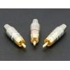 RCA metallpistikud, kullatud, 3 tk komplektis