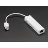 USB 2.0 and Ethernet Hub - 3 USB Ports and 1 Ethernet