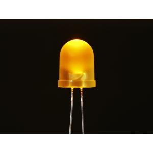 LED 10mm, kollane, matt lääts, 25 tk