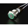 Nupplüliti 16mm, metall, LED valgusega, roheline, On-Off