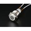 Nupplüliti 16mm, metall, LED valgusega, valge