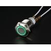 Nupplüliti 16mm, metall, LED valgusega, roheline