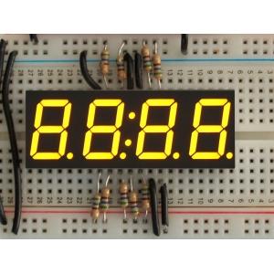 7-segment LED displei, 4 kohta, 14mm, kollane