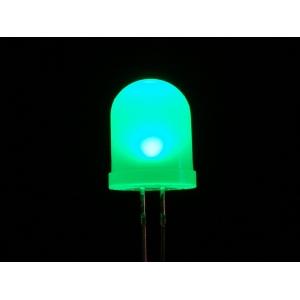 LED 10mm, roheline, matt lääts, 25 tk