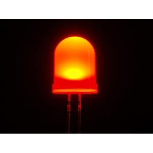 LED 10mm, punane, matt lääts, 25 tk