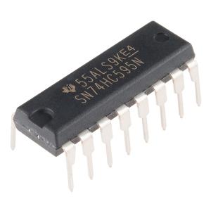 74HC595 - 8-bit nihkeregister, DIP-16