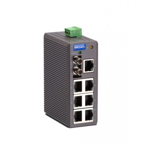 Switch: 7 x 10/100BaseT(X), 1 x 100BaseFX multi-mode ST, -10 kuni 60°C, mittemanageeritav, metallist DIN