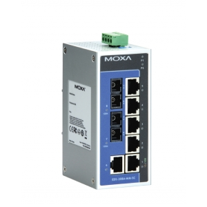 Switch: 6 x 10/100BaseT(X), 2 x 100BaseFX multi-mode SC, -10 kuni 60°C, mittemanageeritav, metallist DIN