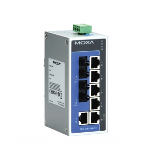 Switch: 6 x 10/100BaseT(X), 2 x 100BaseFX multi-mode ST, -10 kuni 60°C, mittemanageeritav, metallist DIN