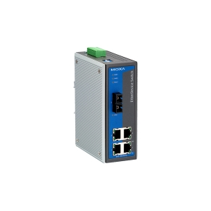 Switch: 4 x 10/100BaseT(X), 1 x 100BaseFX single-mode SC, 0 kuni 60°C, mittemanageeritav DIN