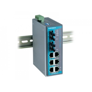 Switch: 6 x 10/100BaseT(X), 2 x 100BaseFX multi-mode ST, 0 kuni 60°C, mittemanageeritav DIN