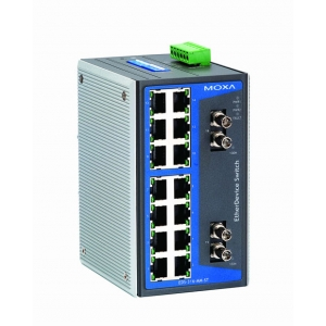 Switch: 14 x 10/100BaseT(X), 2 x 100BaseFX multi-mode ST, 0 kuni 60°C, mittemanageeritav DIN