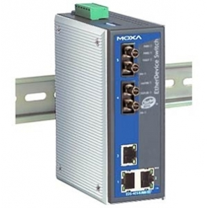 MOXA EDS-405A-MM-ST-T Switch: 3 x 10/100BaseT(X), 2 x 100BaseFX multi-mode ST, -40 kuni 75°C