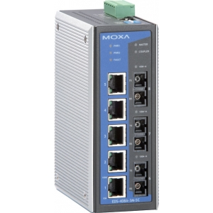 MOXA EDS-408A-3S-SC-48-T Switch: 5 x 10/100BaseT(X), 3 x 100BaseFX single-mode SC, -40 kuni 75°C, ±24/±48 VDC
