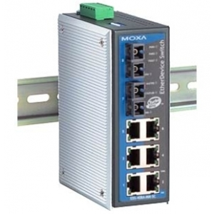 MOXA EDS-408A-MM-SC-T Switch: 6 x 10/100BaseT(X), 2 x 100BaseFX multi-mode (SC), -40 kuni 75°C
