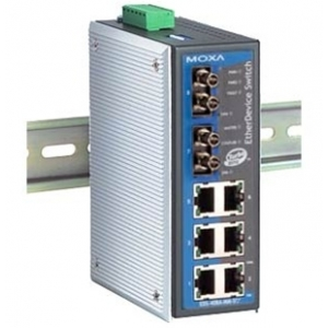 MOXA EDS-408A-MM-ST Switch: 6 x 10/100BaseT(X), 2 x 100BaseFX multi-mode (ST), 0 kuni 60°C