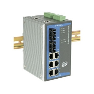 MOXA EDS-508A-MM-SC Switch: 6 x 10/100BaseT(X), 2 x 100BaseFX multi-mode porti (SC), 0 kuni 60°C