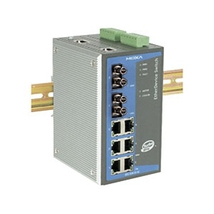 MOXA EDS-508A-MM-ST Switch: 6 x 10/100BaseT(X), 2 x 100BaseFX multi-mode porti (ST), 0 kuni 60°C