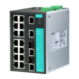 MOXA EDS-518A Switch: 16 x 10/100BaseT(X), 2 x 10/100/1000BaseT(X) või 1000BaseSFP, 0 kuni 60°C