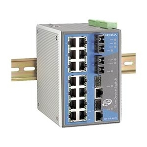 Switch: 14 x 10/100BaseT(X), 2 x 100BaseFX single-mode SC, 2 x 10/100/1000BaseT(X) või 1000BaseSFP, -40 kuni 75°C