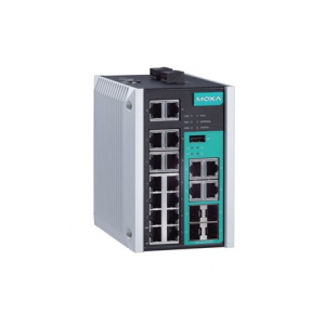 Switch: 14 x 10/100BaseT(X), 4 x 10/100/1000BaseT(X) or 100/1000BaseSFP port -40 kuni 75°C