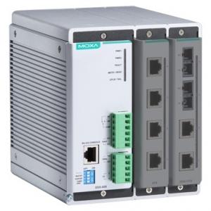 Modulaarne switch: 2 lisamooduli võimalus, kokku kuni 8 fast Ethernet porti, -40 kuni 75°C DIN