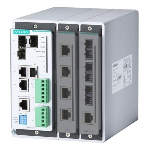 MOXA EDS-611-T Modulaarne switch: 3 x 10/100/1000BaseT(X) või 100/1000BaseSFP, 2 fast Ethernet lisamooduli võimalus, kokku kuni 11 porti, -40 ... 75°C DIN