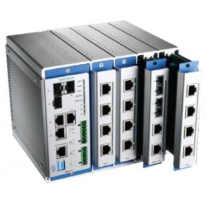 Modulaarne switch: 4 lisamooduli võimalus, kokku kuni 16 fast Ethernet porti, 0 kuni 60°C DIN