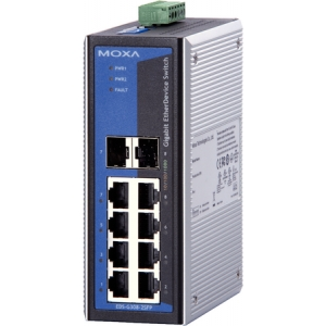 Switch: 6 x 10/100/1000BaseT(X), 2 x 10/100/1000BaseT(X) või 100/1000BaseSFP pesa, -40 kuni 75°C, mittemanageeritav DIN