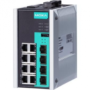 12-port full Gigabit managed Ethernet switch,8 Gigabit T(X) ports, 4 Gigabit SFP slots, -40 to 75°C operating temperature